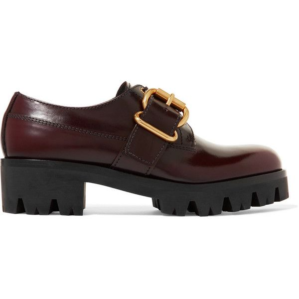 Prada Leather Brogues - Burgundy Best Store To Get For Sale Gj0sX
