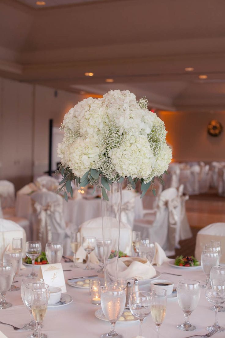 Tall White Hydrangea And Babys Breath Wedding Centerpiece Flowers In Clear Vase