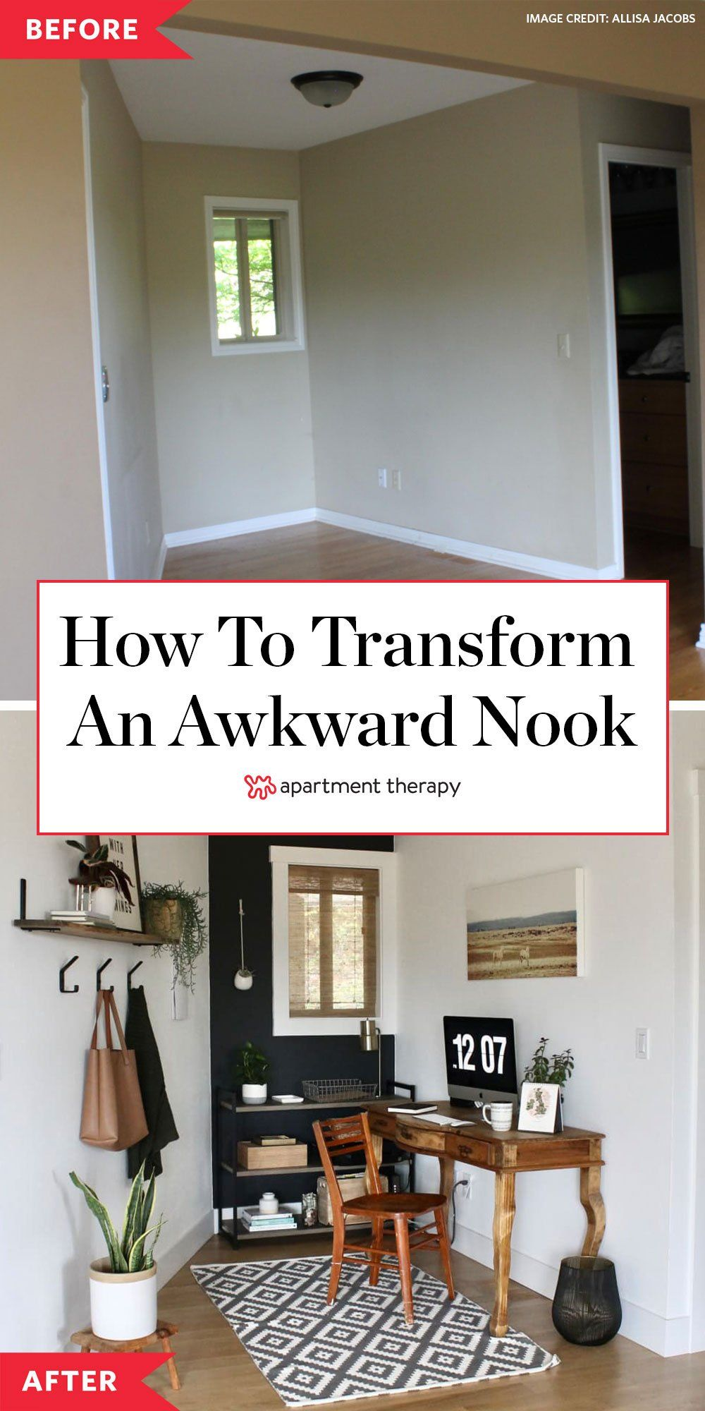 Before And After This Awkward Space Gets The Office Glow Up It Deserves Home Small Space Living Home Decor