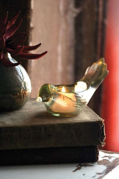 mercury glass bird tealight holder | bird shaped candleholder