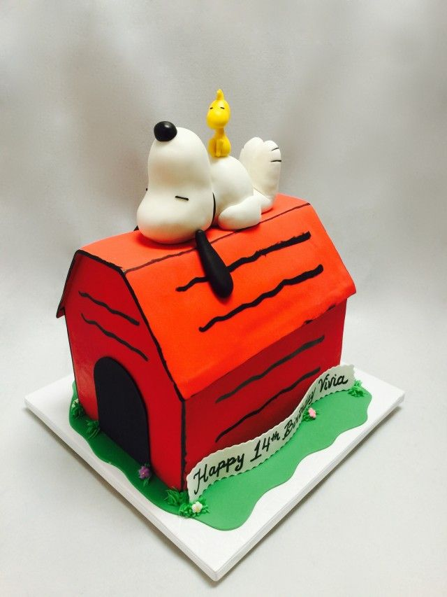 Awesome 3D Snoopy House Cakes With Images Snoopy Birthday Cake Custom Funny Birthday Cards Online Alyptdamsfinfo