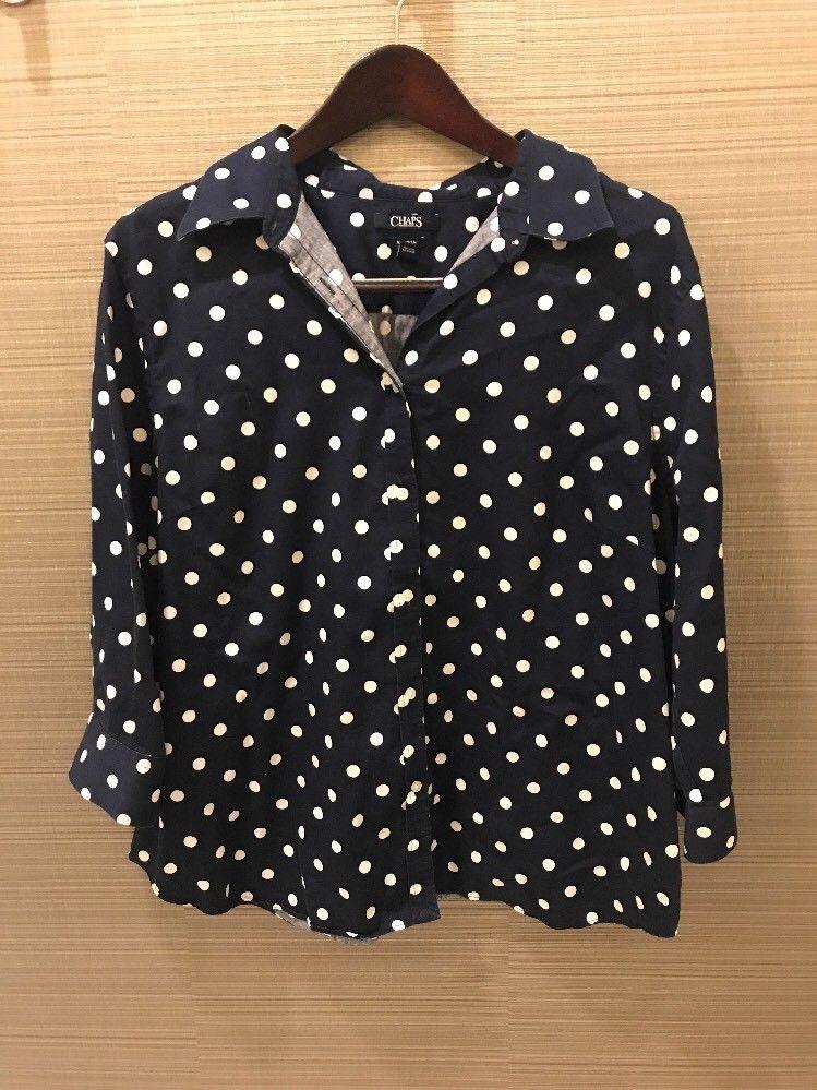 508a5333 Chaps Woman 2X No Iron Navy Blue White Polka Dot Button Down Shirt Flaw |  eBay
