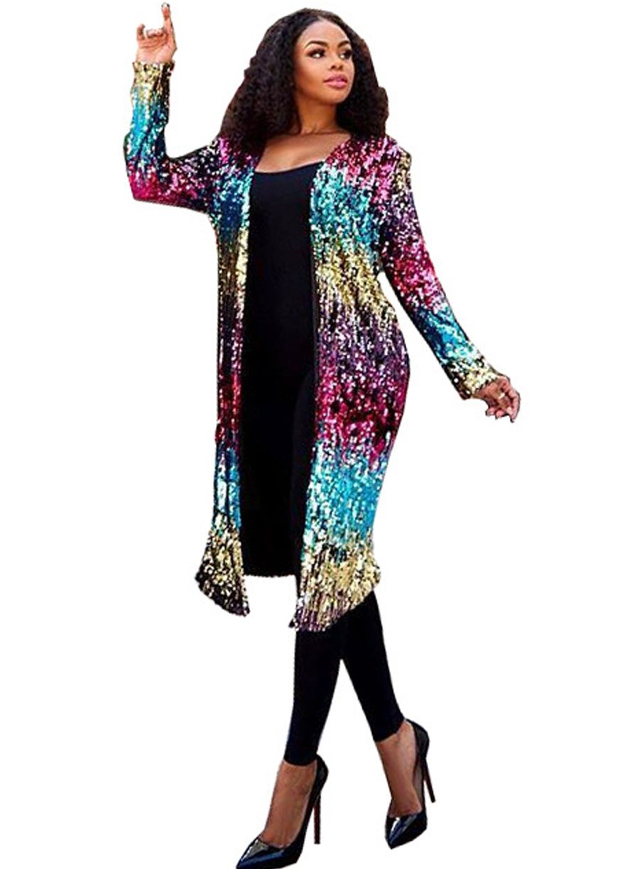 03c60ee5cd3 Multi-Color Sequin Long Sleeve Duster