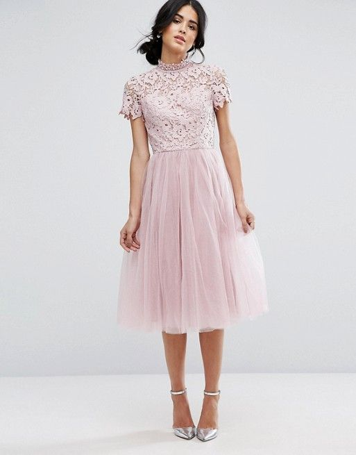 Chi Chi London High Neck Lace Midi Dress With Tulle Skirt ...