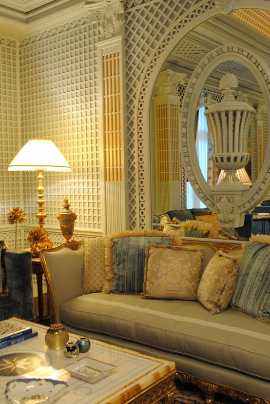 Traditional Victorian Colonial Living Room By Timothy Corrigan With Images: Lattice Walls Again; The Trim Is Cool.