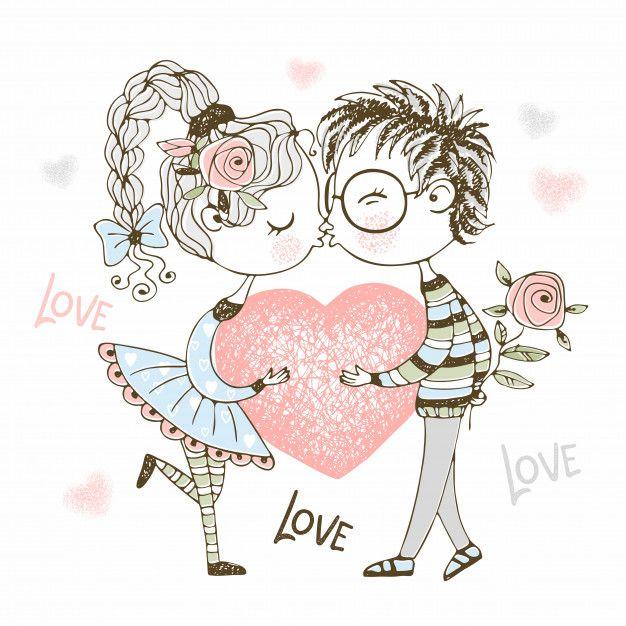 Um menino e uma menina beijam e seguram   Premium Vector