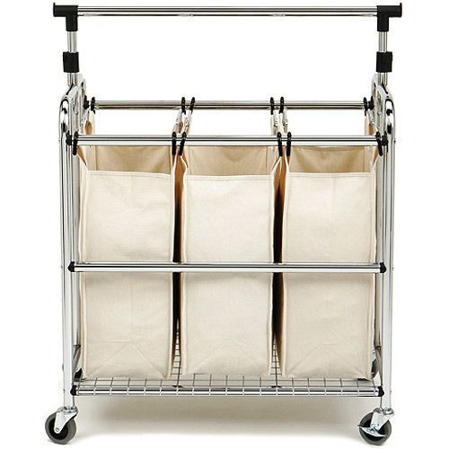 3 Bag Laundry Sorter W Hanging Rack Gliding Wheels Dorm Room