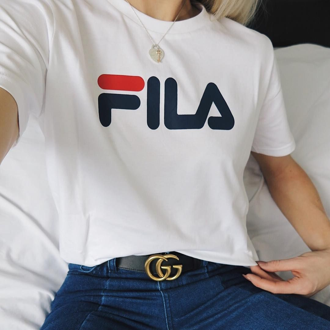 The Gucci GG Belt Worn With Fila Logo T-shirt On Fashion Blogger Shop The Look Here - Http ...