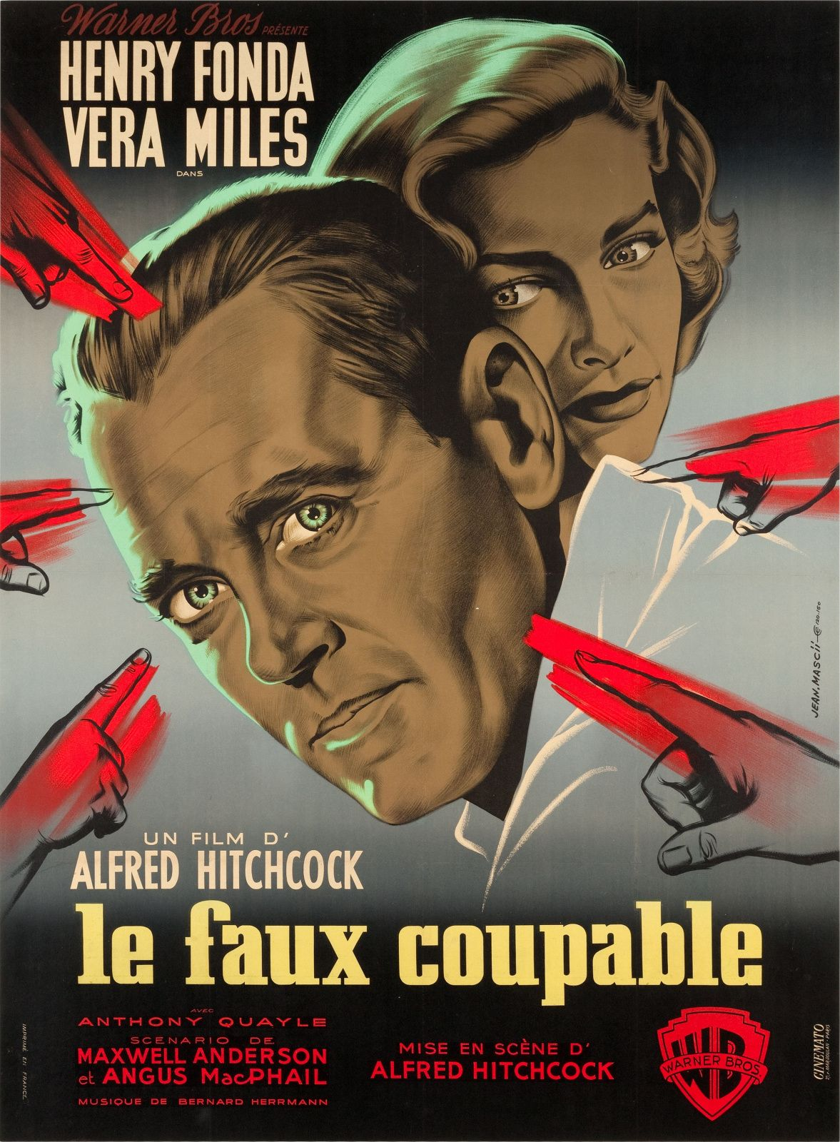 Hitchcock The Wrong Man 1956 Affichiste Jean Marscii