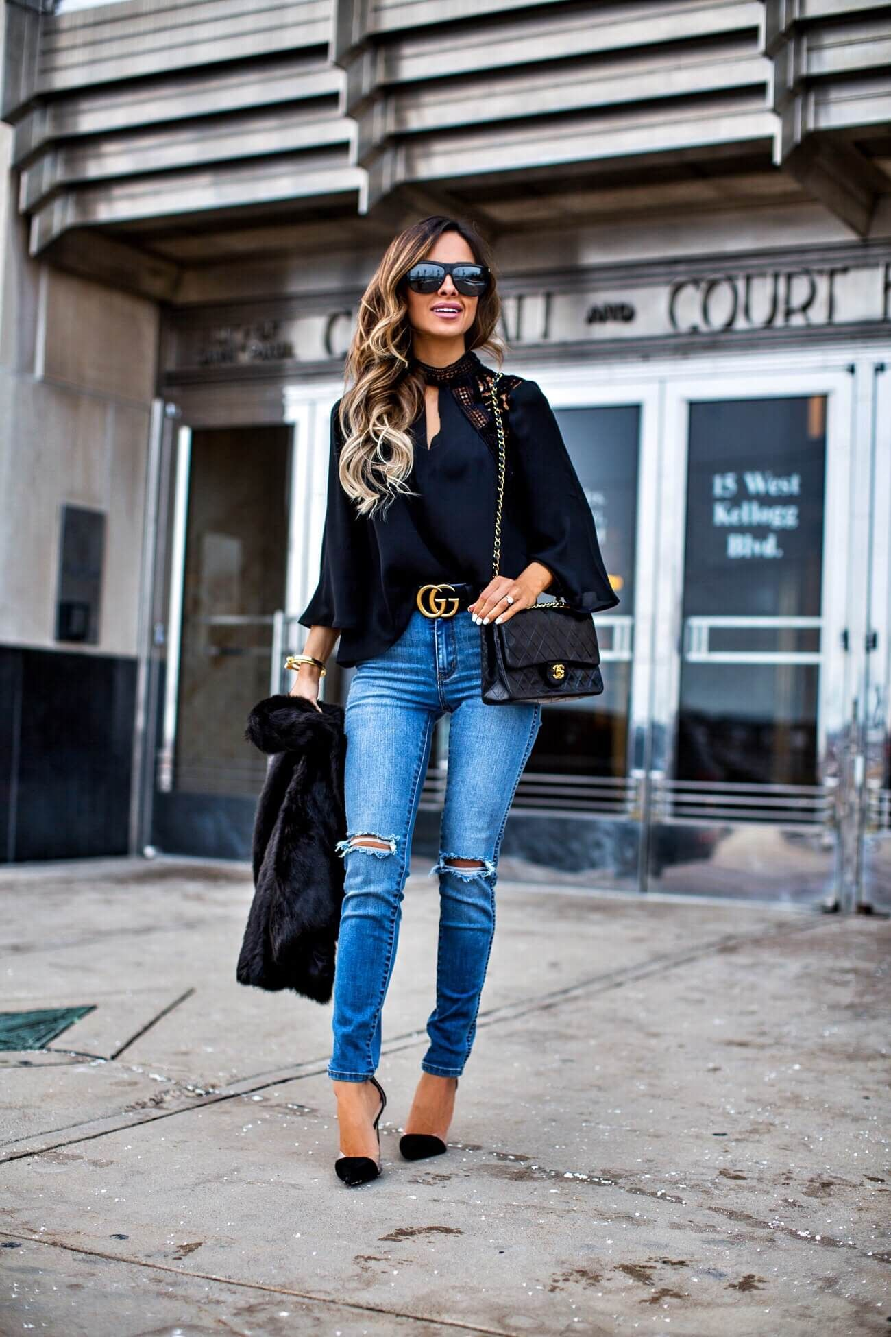 2de40ae4e007 fashion blogger mia mia mine wearing a gucci belt and a chanel bag ...
