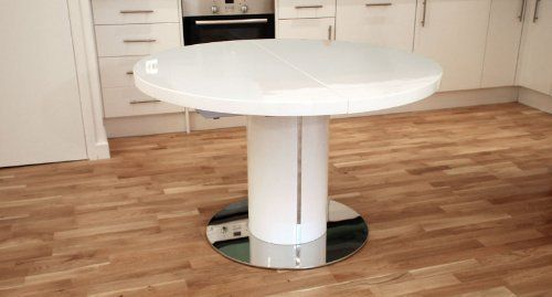 White High Gloss And 1200mm Extending To 1600mm Curva Round White Gloss  Extending Dining Table By