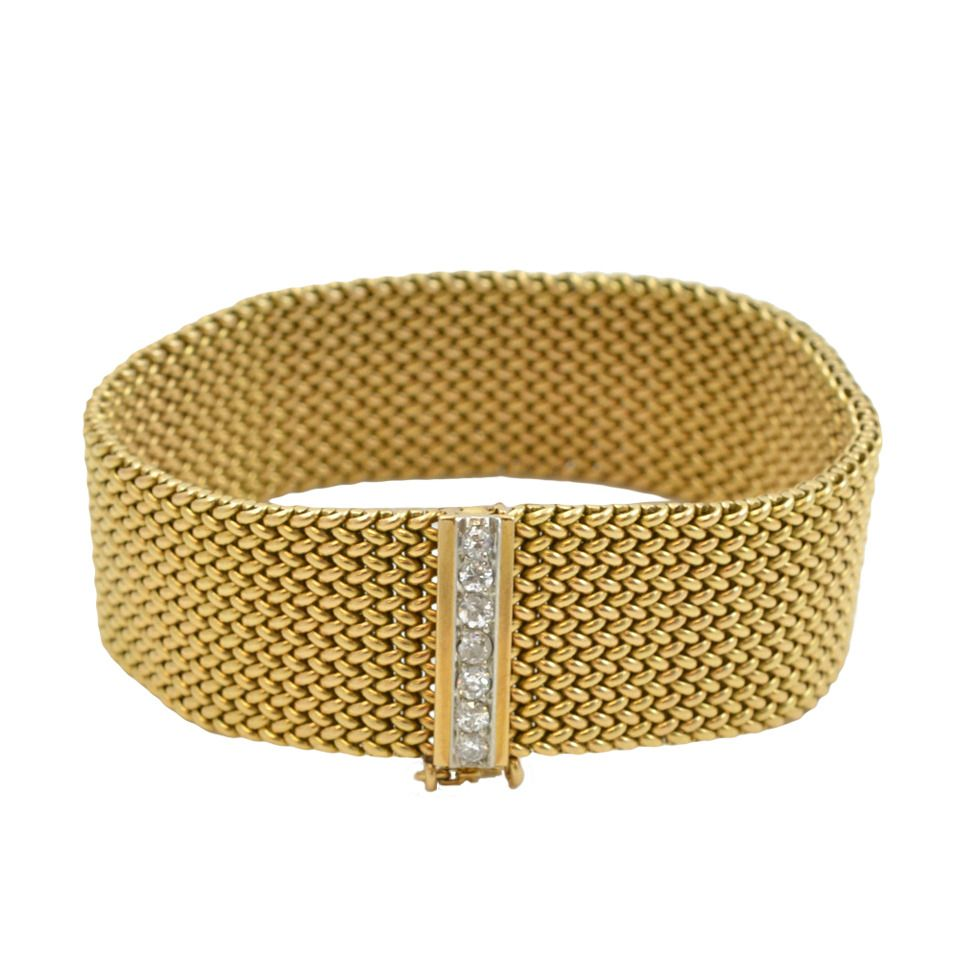Diamond Gold Woven Mesh Bracelet From a unique collection of