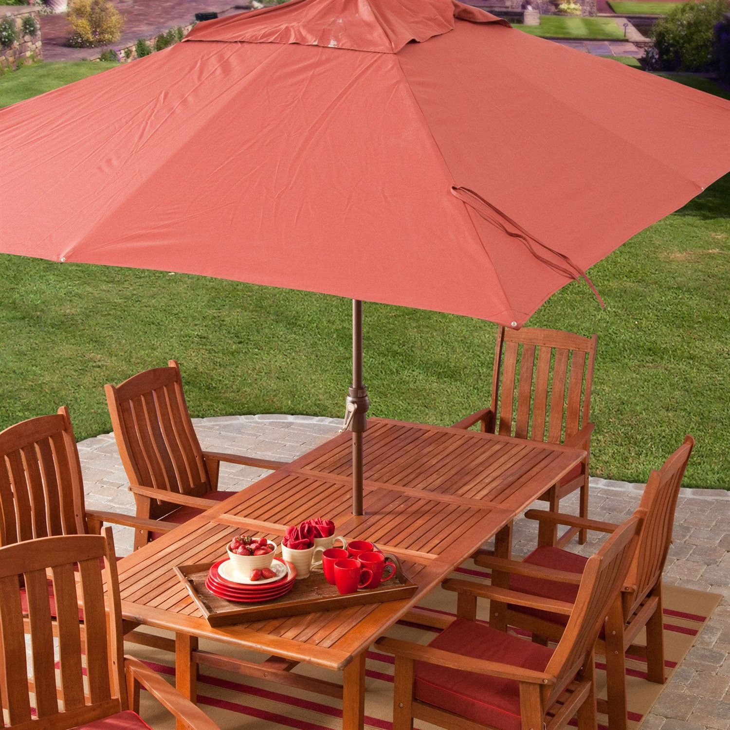 8 X 11 Ft Rectangle Patio Umbrella With Red Orange Terracotta Canopy Shade