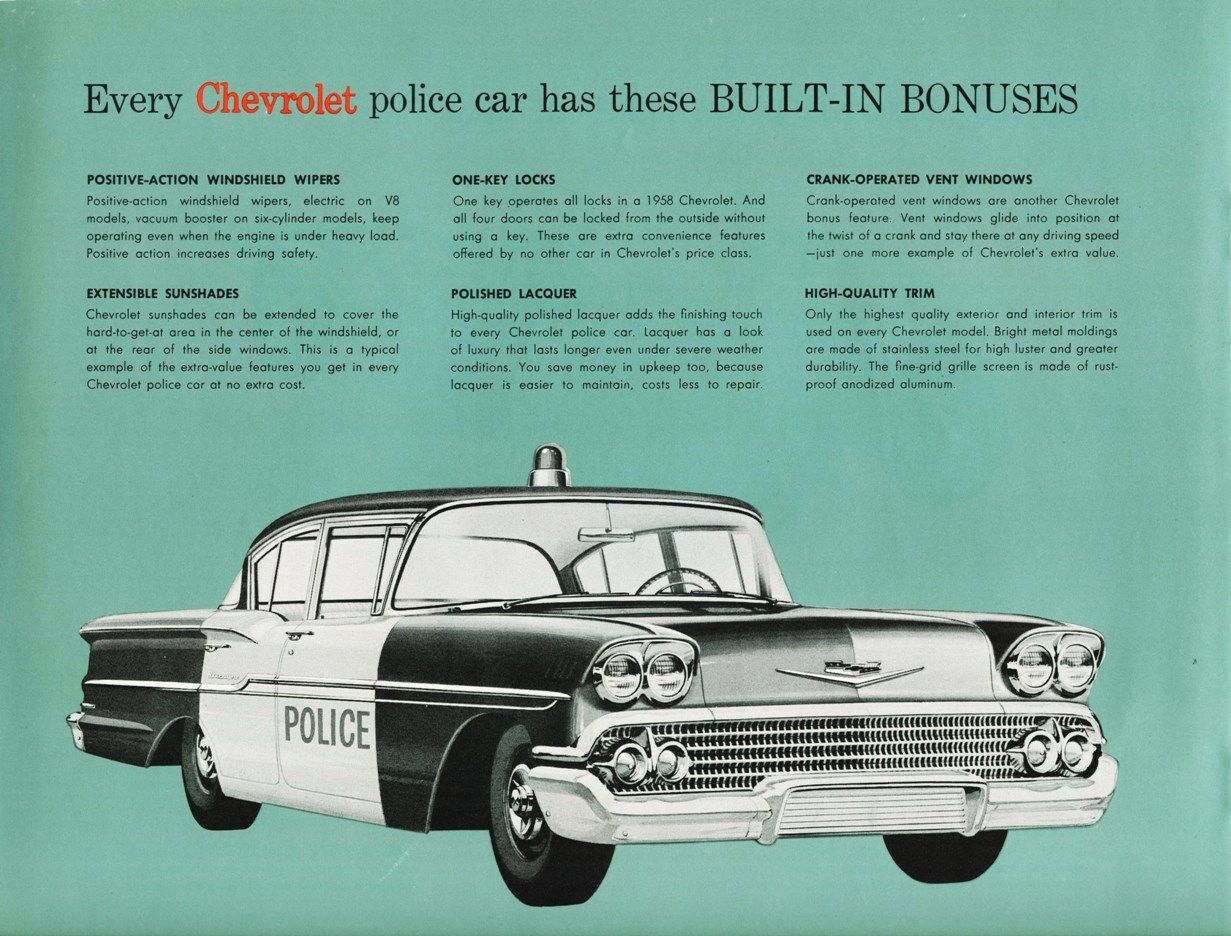 1958 Chevrolet Biscayne Police Car Automobile Advertising