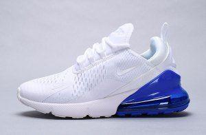 77c4ed661a33c5 Mens Womens Nike Air Max 270 Sneakers White Metallic Silver Photo Blue  AQ7982 100