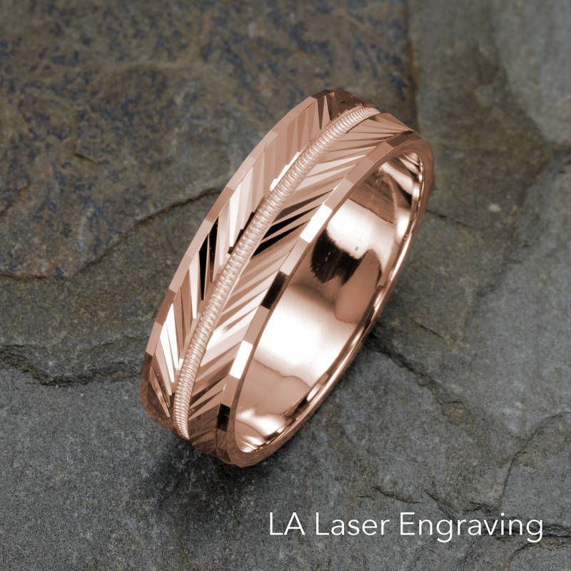 Rose Gold Wedding Band Grooved Milgrained Faceted Ring Mens Etsy Gold Wedding Band Mens Wedding Bands Rose Gold Wedding Bands