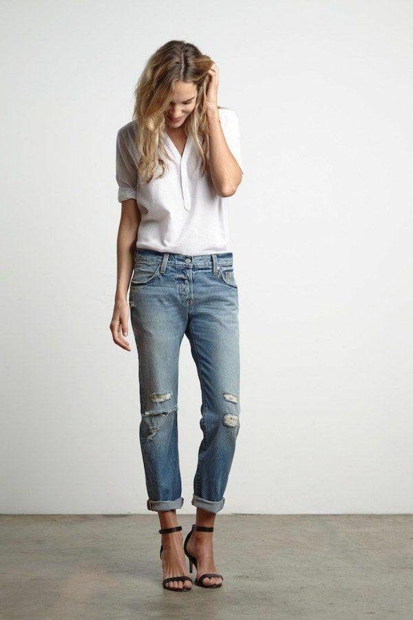 le jean boyfriend femme 70 id es comment le porter me white and jeans. Black Bedroom Furniture Sets. Home Design Ideas