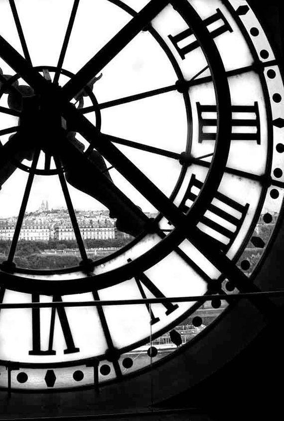 Large Living Room Wall Art, Paris Print Set, Black and White Photography Set, Modern Art, Orsay Museum Clock
