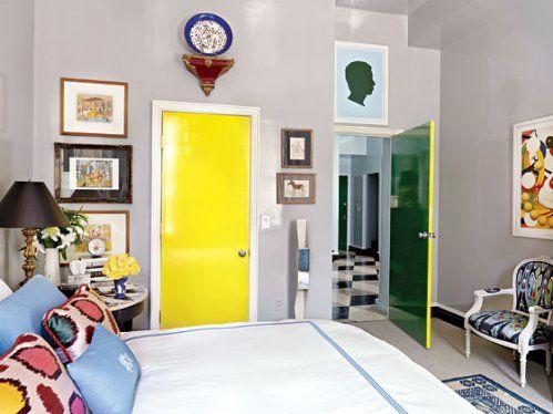 gray walls with yellow closet doors... Love it! | master bedroom ...