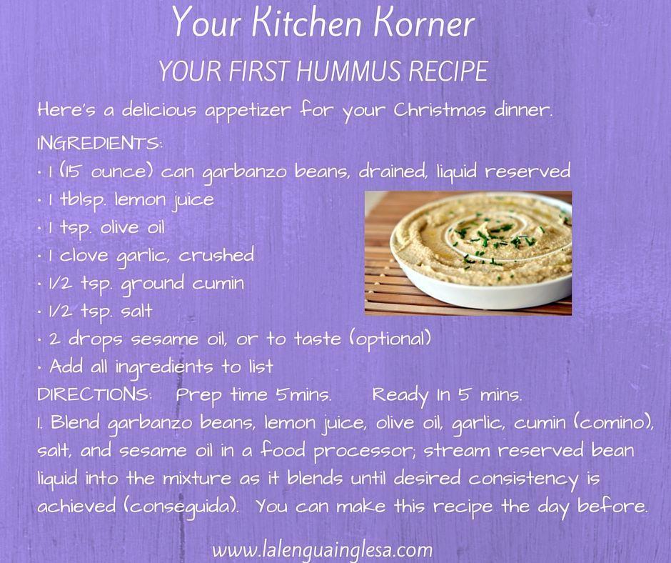 Amazing Receta Hummus #Inglés #English #Recipe #Receta #Hummus #Cooking #Kitchen