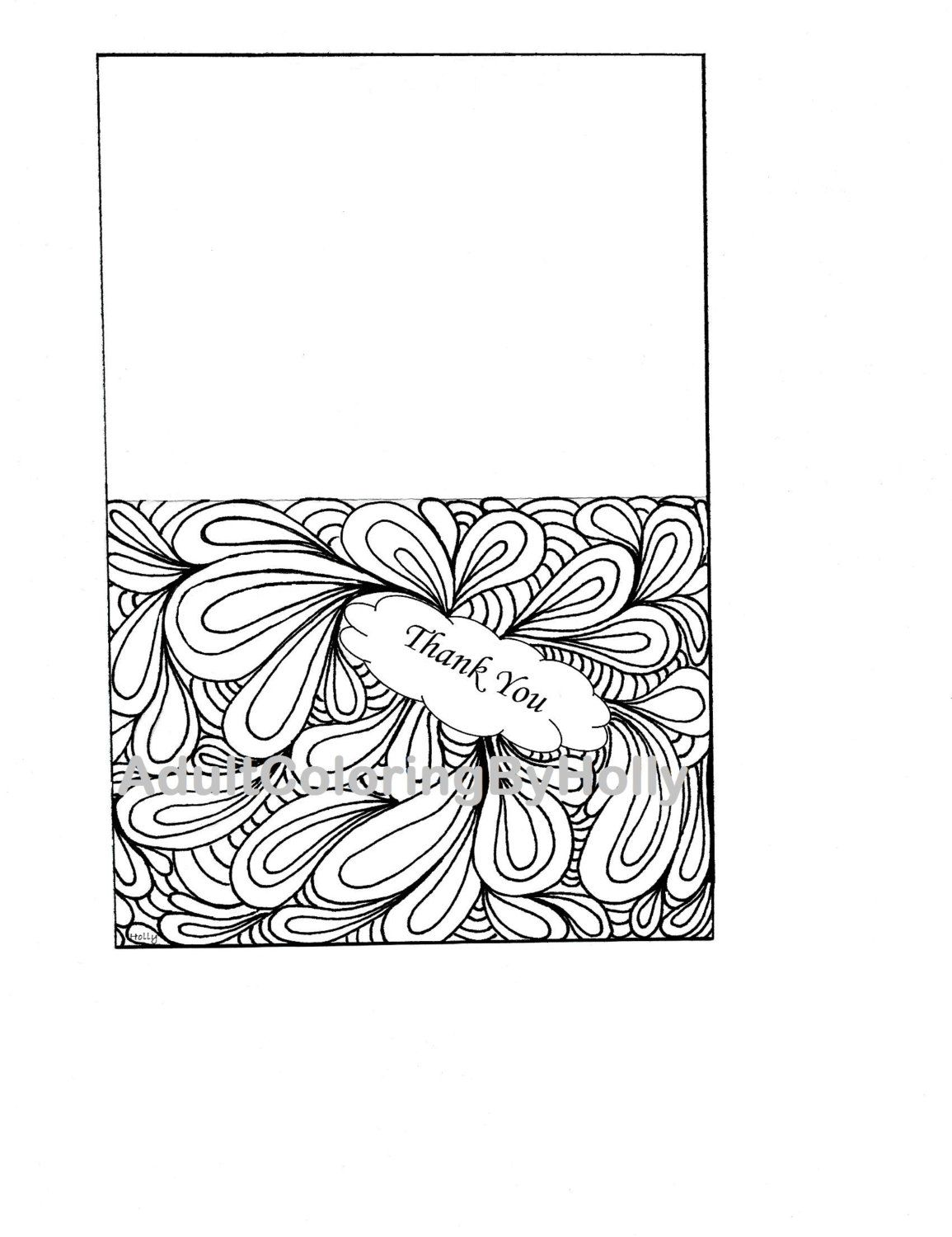 Coloring Page Printable Digital Download Thank You Card And Free