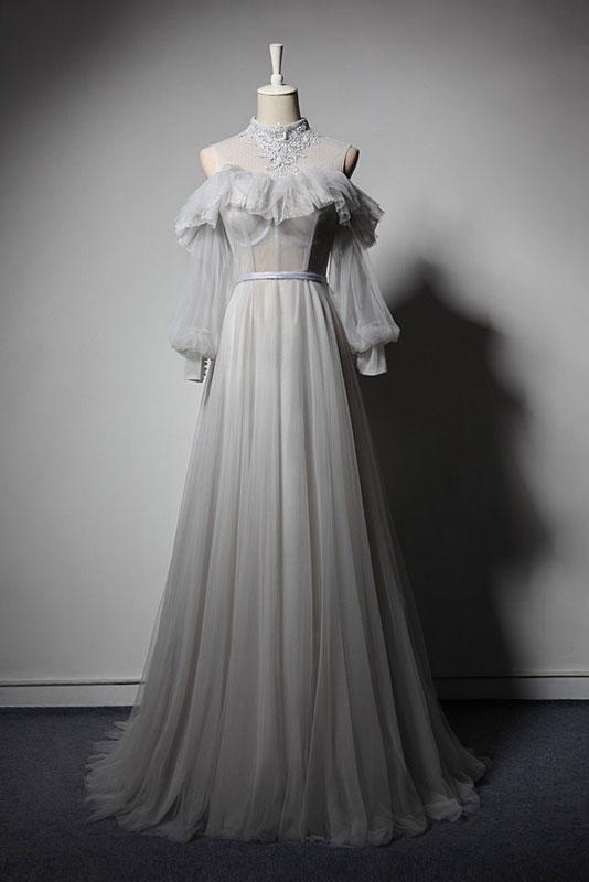 Gray Appliques Lace High Neck Prom Dress,Retro Long Sleeve Formal Dresses,Senior…