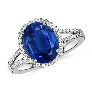 Angara Diamond Halo Blue Sapphire Split Shank Engagement Ring in White Gold