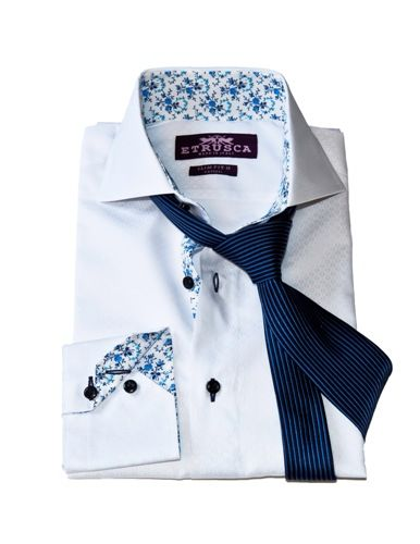 ETRUSCA Shirts Menswear Men's Shirts Made in Italy White Circle Folded