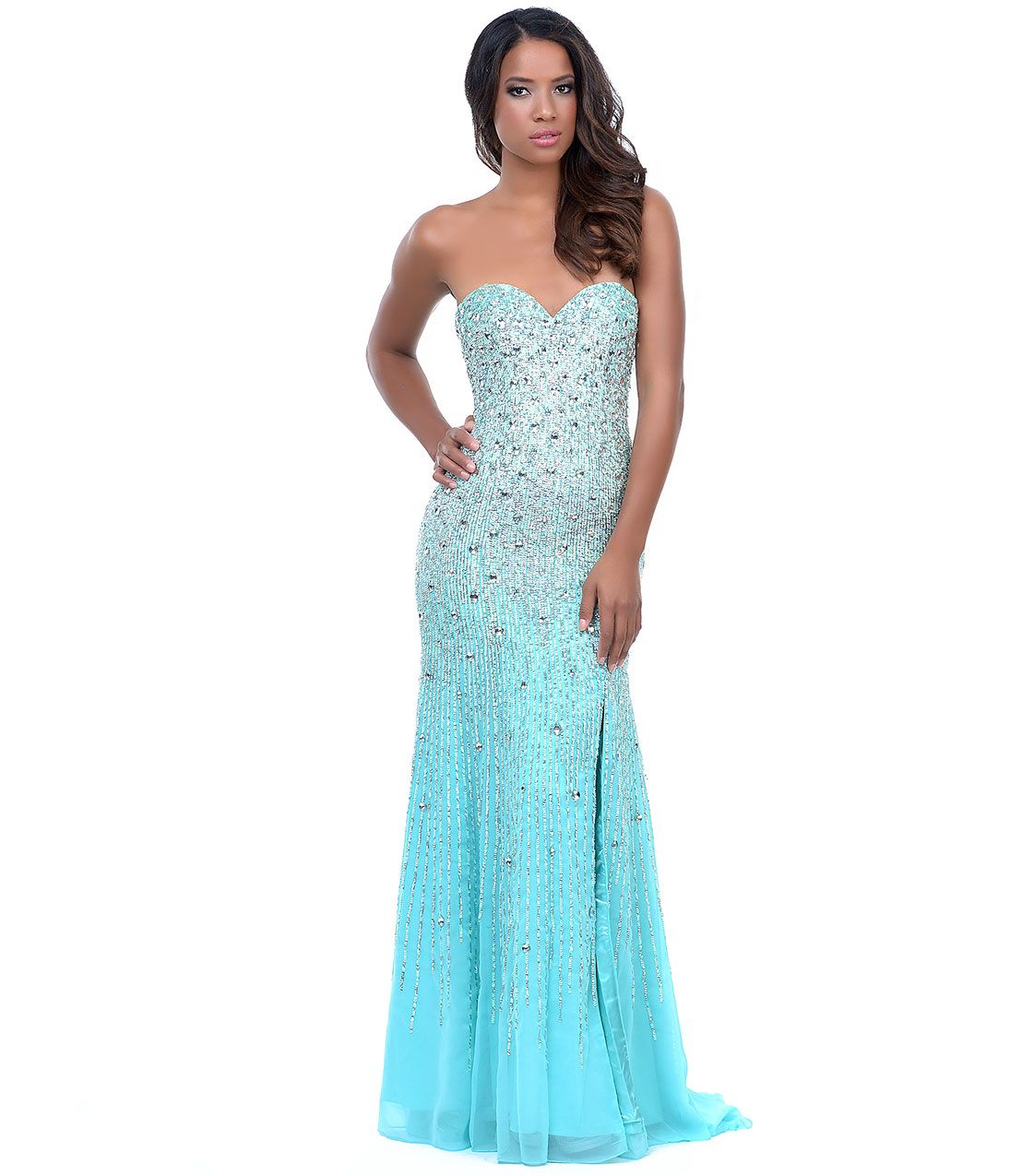 Mint green sequin u rhinestone strapless sweetheart gown