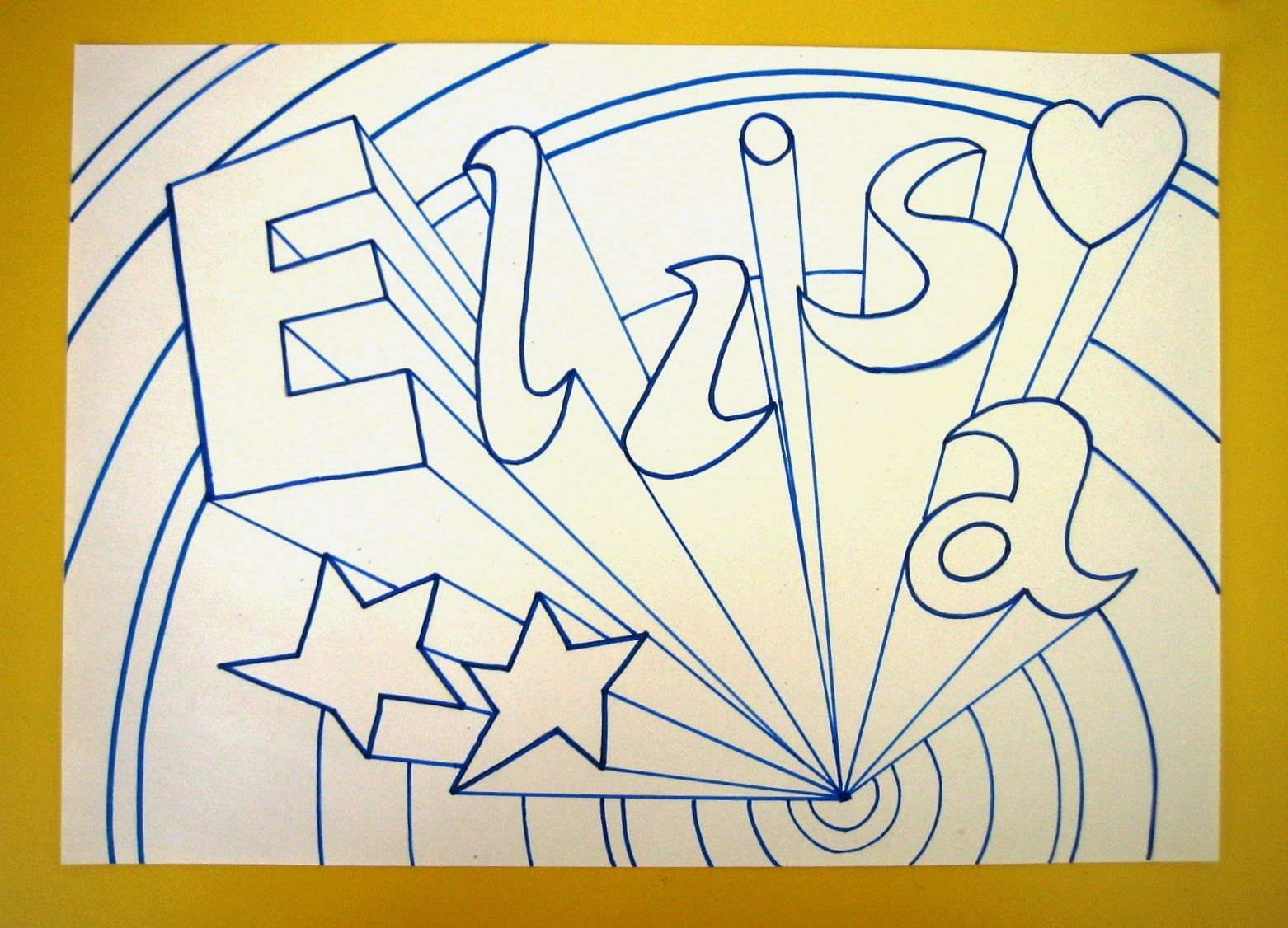 One Point Perspective Name Art