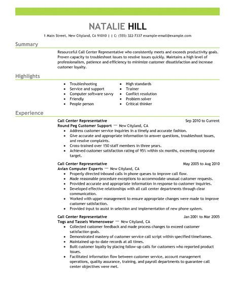 Big Call Center Representative Example Emphasis 2 Design Good Resume Examples Warehouse Resume Resume Examples
