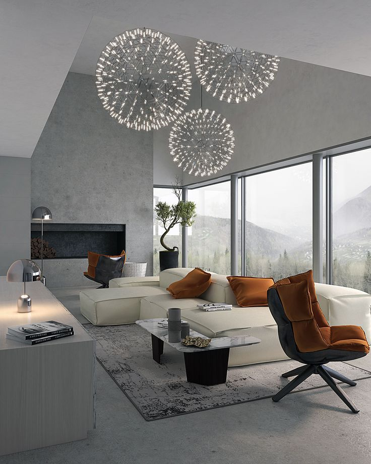 chic schwarz und weiß Wohnzimmer Interieur, moderne Wohnzimmer Dekor ...