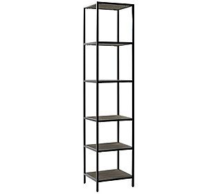 Whether displaying treasured keepsakes or storing everyday items, the industrial edge of this narrow etagere fits the bill. From Crosley Furniture.