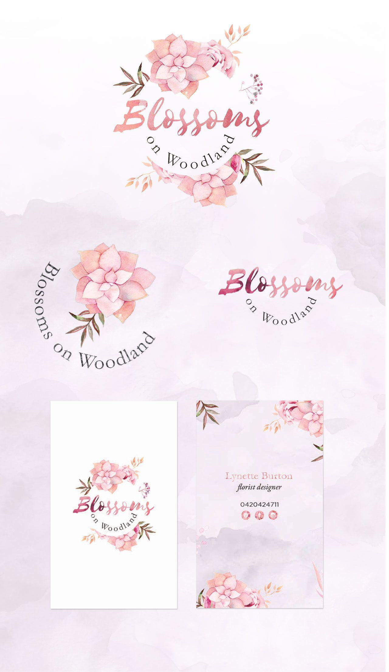 Flower Bouquet Logo Design. Pink Roses Floral Premade Logo