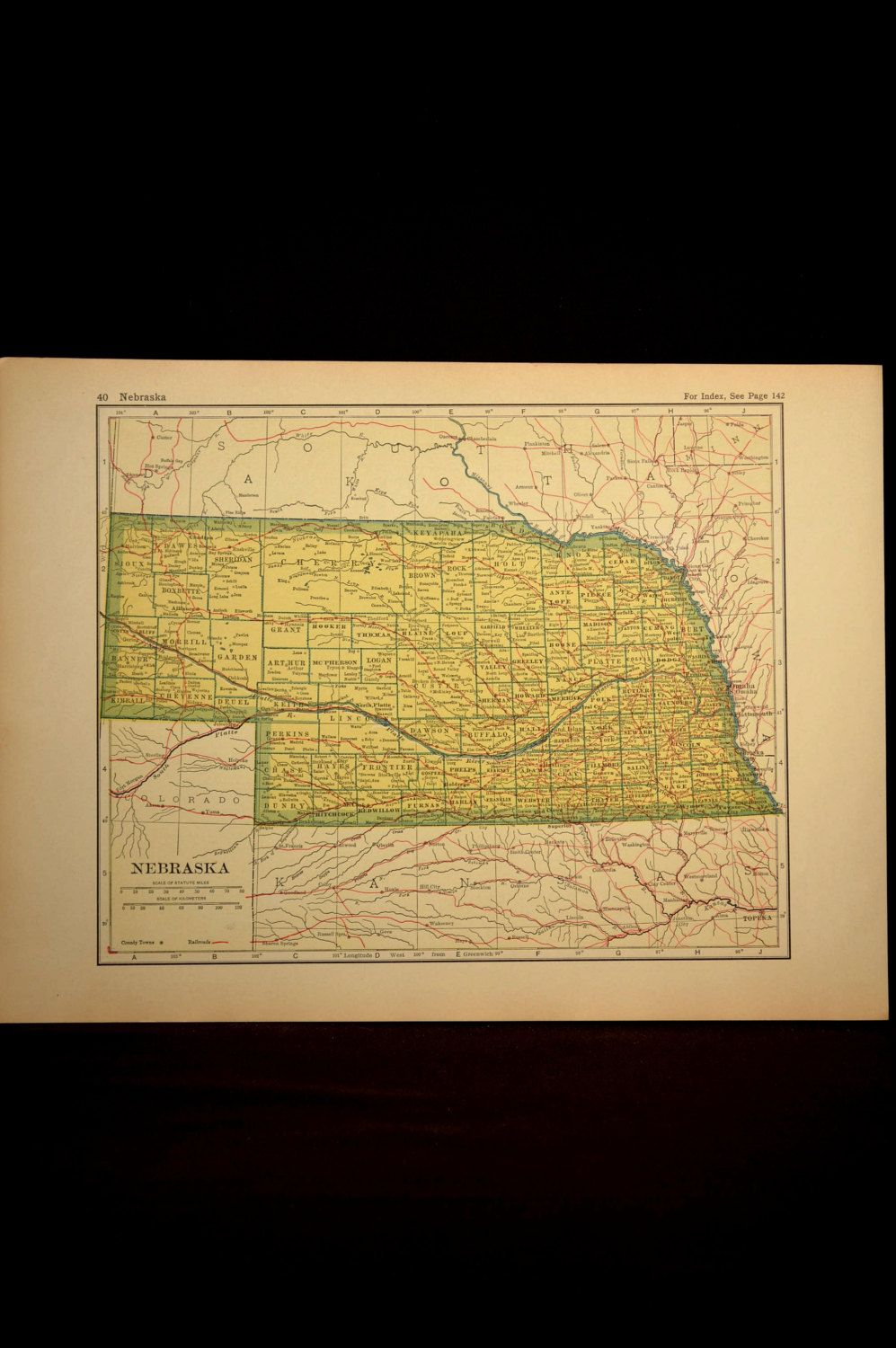 Nebraska Map Nebraska Original Railroad Antique 1920s Yellow | Map ...