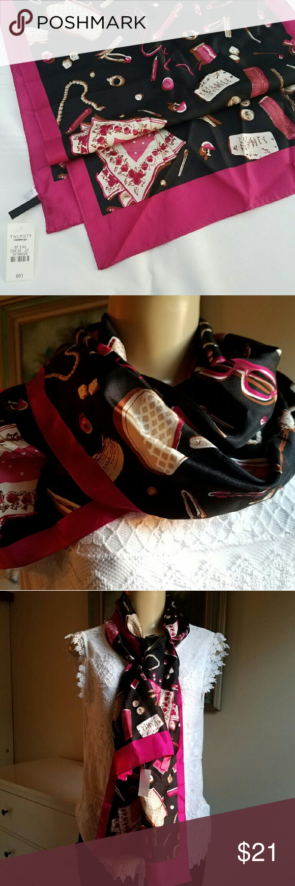 Talbots black silk scarf NWT 100% silk scarf with jewerly and accesories printing. 14 inch W, 60 inch L. Talbots Accessories Scarves & Wraps