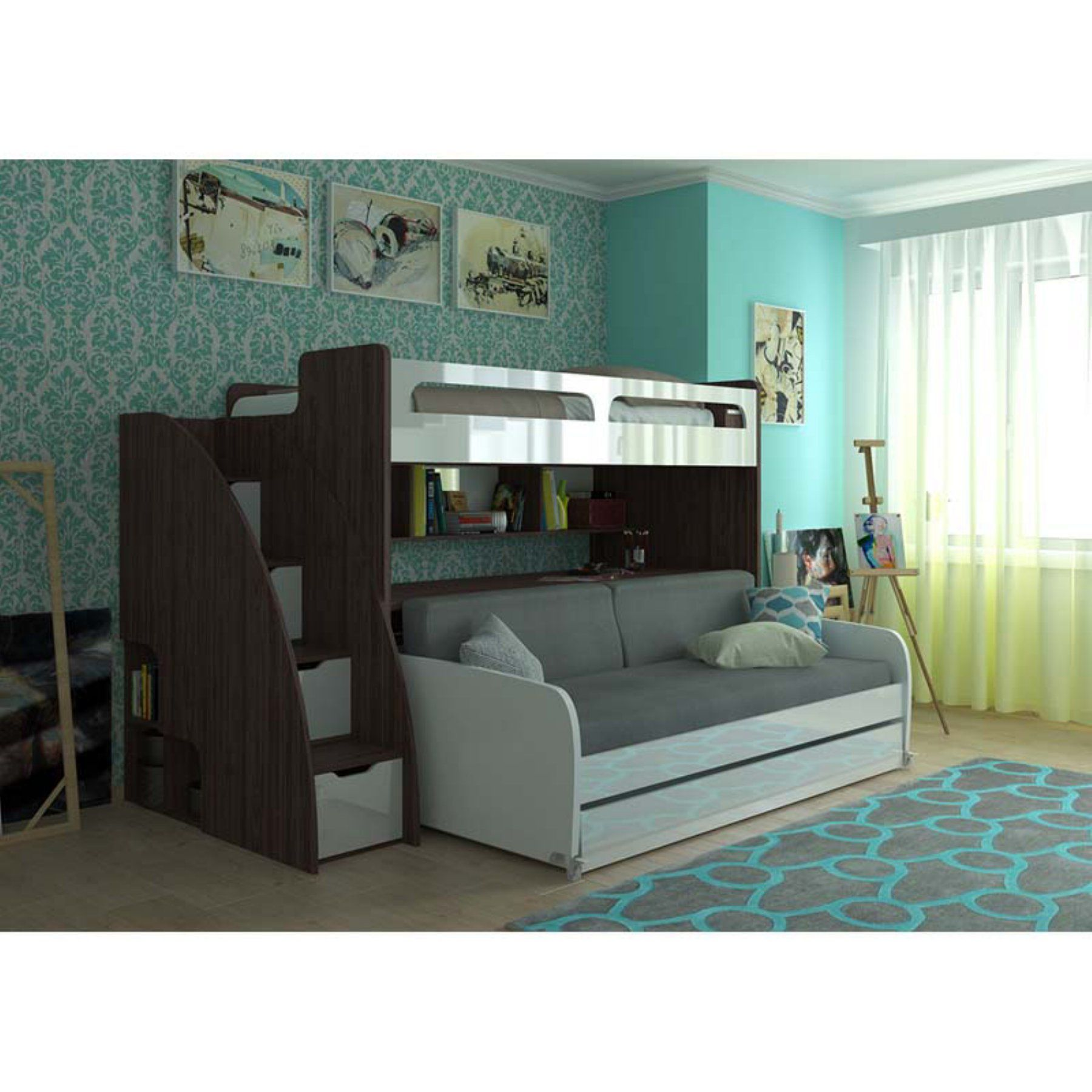 Ausziehbett Antonio Multimo Bel Mondo Grande Daybed With Loft Bed And Two Trundles
