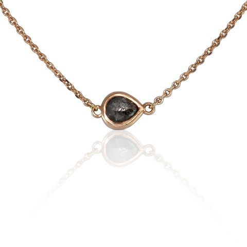Salut Rose Aurum Charcoal ~ Chic little 18ct rose gold necklace set with a beautiful one of a kind rose cut charcoal diamond. Natural beauty. #lucajouel