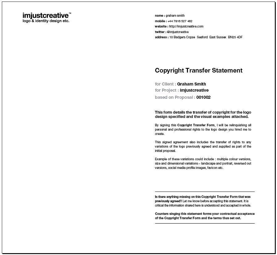 Logo Design Transfer of Copyright Form InDesign Template