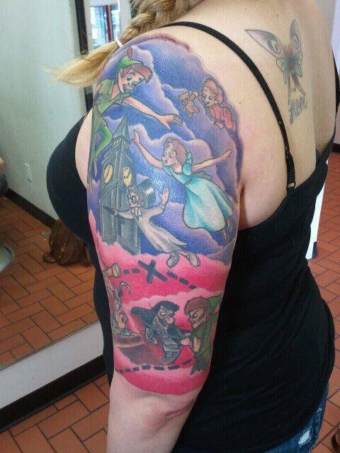 Pin By Cassie Justice On Inkspiration Peter Pan Tattoo Sleeve Tattoos Disney Sleeve Tattoos