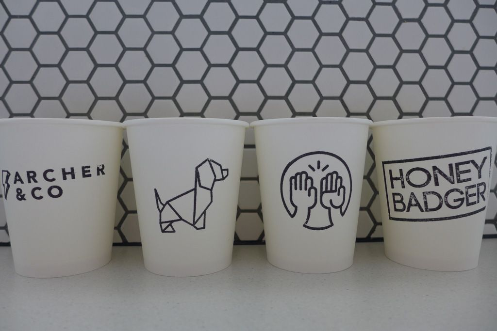 Coffee cup stamps and takeaway paper cups </div>                             </div>               </div>       <div class=