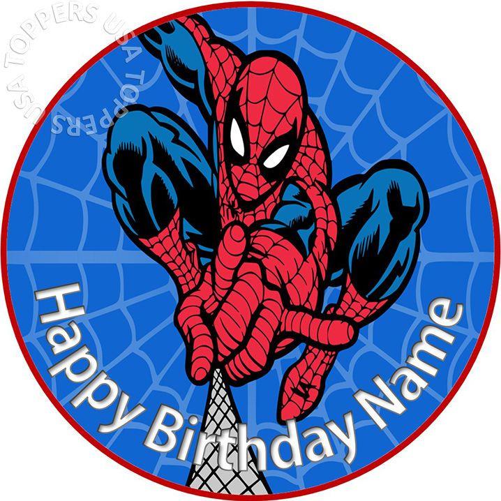 icing sheet.05 Edible Round Cake Topper Spiderman Cake Topper wafer sheet