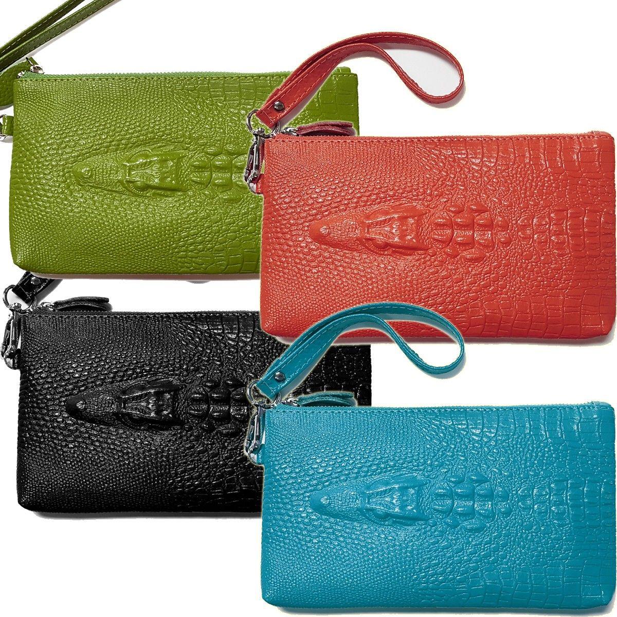 Leather Alligator Las Wristlet Wallet Purse