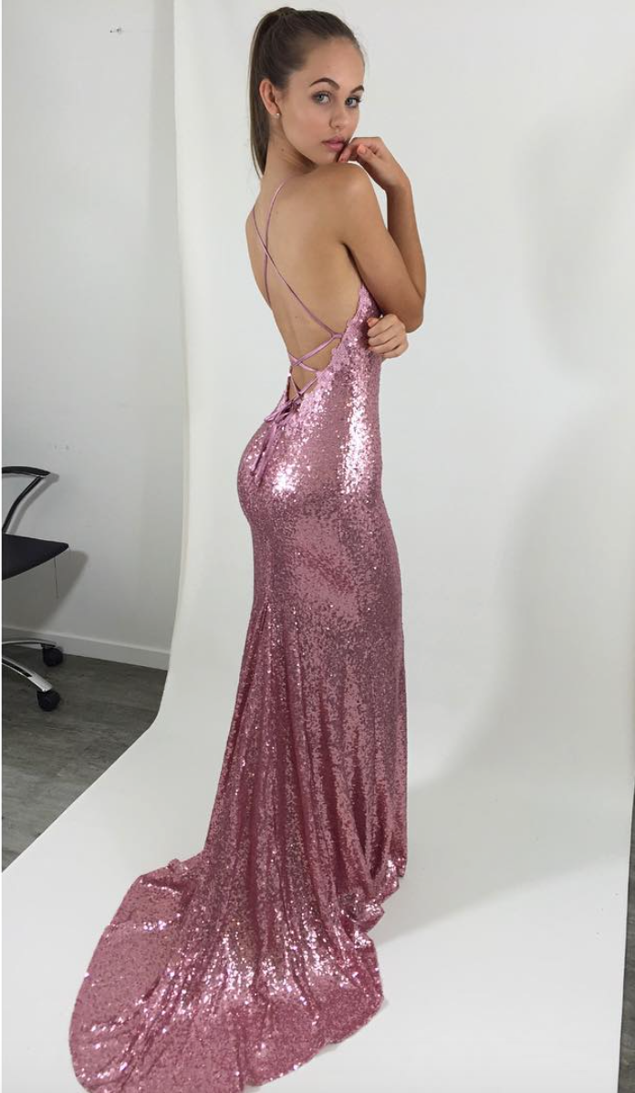 STUDIO MINC PINK LOVE ME DRESS. BACKLESS PINK FORMAL/PROM SEQUIN ...