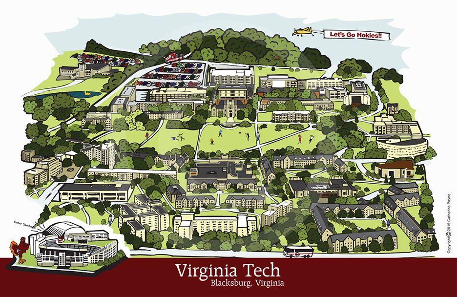 Virginia Tech Print Campus Illustration 11x17