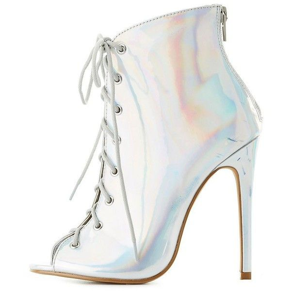 e8bcbefd9fb7 Charlotte Russe Holographic Lace-Up Peep Toe Booties ( 25) ❤ liked on  Polyvore featuring shoes