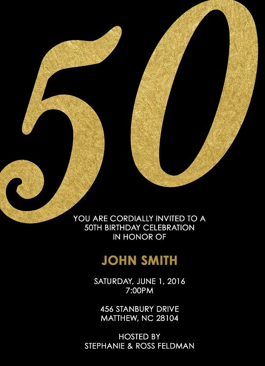 Black and gold 50th birthday party invitation any age available black and gold 50th birthday party invitation any age available filmwisefo Images