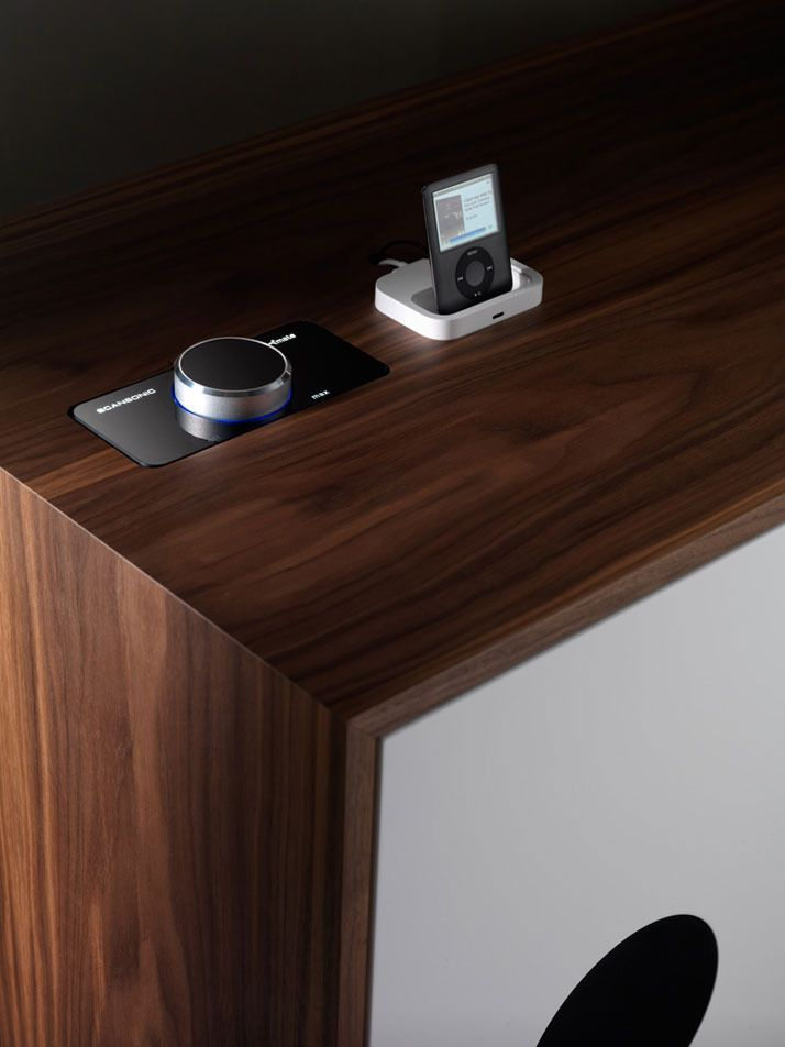 miniforms cabinet and desk with integrated speakers achingao