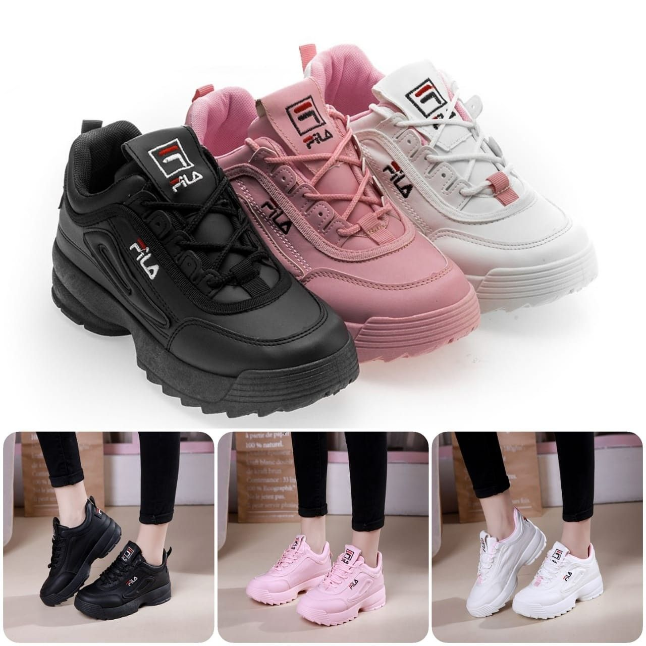 F I L A Disruptor Ii Series Gm03 Colours Black Pink White