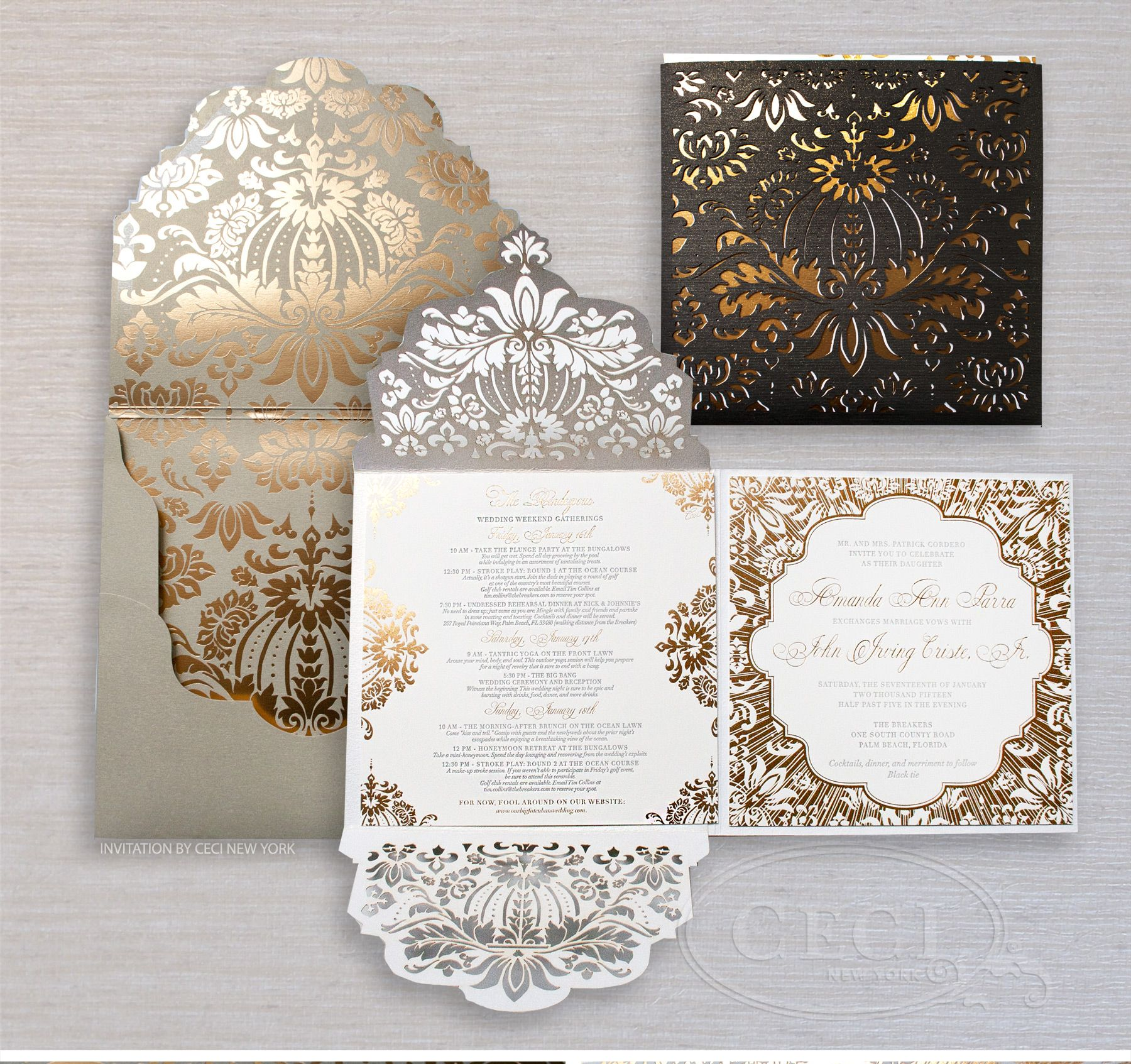 Luxury Wedding Invitations By Ceci New York Our Muse Gold And Black At The Breakers Be Inspired Amanda Joe S Uniquely Glamorous